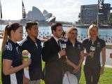 Phil Brent hosts a media call for 100 days to go until Nanjing 2014 with (L to R) Ami Matsuo, Kenneth To, Jess Fox and Susie O'Neill, on 8 May 2014 at Sydney Harbour foreshore.