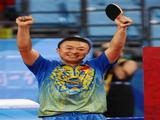Ma Lin of China celebrates as he defeats Wang Hao of China in the Men's Singles Gold Medal Match held at the Peking University Gymnasium on Day 15 of the Beijing 2008 Olympic Games on August 23, 2008 in Beijing, China.