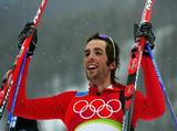 Magnus-H Moan of Norway celebrates winning the overall Silver Medal in the Nordic Combined.