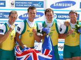 Christopher Morgan, James McRae, Karsten Forsterling and Daniel Noonan pose with their gold medals after winning the Men's Quadruple Sculls final during the FISA Rowing World Championships at Lake Bled in Bled, Slovenia.