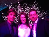 Snowboarder Michaela Davis-Meehan meets former Australian Idol hosts Andrew Günsberg and James Mathison at the Channel Ten Winter Olympic Launch in Sydney.