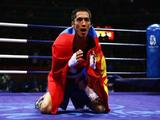 Badar-Uugan Enkhbat of Mongolia celebrates after defeating Yankiel Leon Alarcon of Cuba during the Men's Bantam (54kg) Final Bout held at the Workers' Indoor Arena during Day 16 of the Beijing 2008 Olympic Games on August 24, 2008 in Beijing, China.