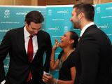 Grant Hackett, Cathy Freeman and Ian Thorpe share a joke during an Australian Olympic Team Appeal Breakfast at Sofitel Wentworth Hotel