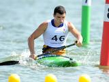 Anatolii Melnyk of Ukraine competes in the C1 Obstacle Canoe Slalom Men Round 1