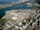 Construction continues at the Olympic Park in the Barra da Tijuca neighborhood with nearly one year to go to the Rio 2016 Olympic Games on July 21, 2015 in Rio de Janeiro, Brazil. The Olympic Park will occupy 1.18 million square meters hosting 16 Olympic disciplines and will be the heart of the games.