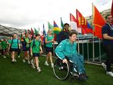 School children, Olympians and Paralympians recreate the Opening Ceremony during the Schools Celebration as part of celebrations marking the 10th anniversary of the Sydney 2000 Olympics