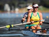 Bronze Medallists in the women's pair at the 2011 World Championships - Kate Hornsey and Sarah Tait pre-race on day 1 of the trials. Australian Rowing Olympic Trials, March 2012, Sydney International Rowing Centre