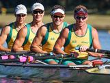 Australia's World Champion Quad Scull crew: (L-R) Daniel Noonan, Karsten Forsterling, James McRae and Chris Morgan pre race on Day 1 of the trials. Australian Rowing Olympic Trials, March 2012, Sydney International Rowing Centre