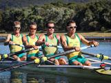 Australia's World Champion Lightweight Four crew: (L-R) Anthony Edwards, Sam Beltz, Ben Cureton and Todd Skipworth racing on Day 1 of the trials. Australian Rowing Olympic Trials, March 2012, Sydney International Rowing Centre