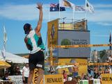 Triple Olympian Josh Slack gets some air during the 2012 Australian Beach Volleyball Championship final at Manly beach on 1 April, 2012.