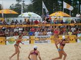 Natalie Cook and Tamsin Hinchley play Becchara Palmer and Louise Bawden in the clash of Australia's top two women's teams in the Australian Beach Volleyball Championship final at Manly beach on 1 April, 2012.