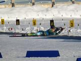 Lachlan Porter shoots 3 from 5 in the prone position of the biathlon sprint.