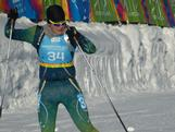 Lachlan Porter charges down the home stretch of the biathlon sprint.