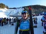 Lachie's hurting but he is all smiles after his first race at the Winter Youth Olympics.