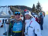Lachlan Porter and biathlon coach Toscha Stopar after his race.