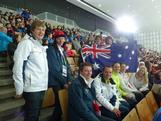 The Aussie contingent cheer on Chantelle Kerry at Olympiaworld, Innsbruck.