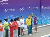Hannah Thek is introduced to the crowd at the 10m platform diving preliminaries.