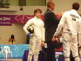 Todd Renfree prepares for his bout against Yurly Fedechko in the fencing component of the modern pentathlon.