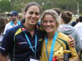 Rugby Sevens Youth Olympian Brooke Anderson with then Women's Sevens Captain Rebecca Tavo after Anderson won gold at the 2013 Australian Youth Olympic Festival.