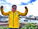 Moguls Olympian Britt Cox at the 100 days to Sochi celebration on Wednesday 30 October in Sydney.
