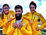 Moguls Olympian Britt Cox, Ski Cross' Anton Grimus and defending Olympic Aerials Champion Lydia Lassila at the 100 days to Sochi celebration on Wednesday 30 October in Sydney.