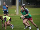 Marioulla Belessis picks up the ball as the Australian Youth Olympic rugby sevens squad trains in Sydney on July 26, 2014 ahead of the Youth Olympic Games (YOG) in Nanjing, China this August.