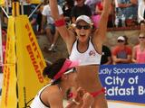 Becchara Palmer and Louise Bawden celebrate after winning the Gold final match on March 13, 2011 in Adelaide.