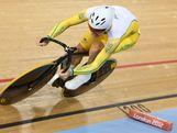 Shane Perkins of Australia in action during Men's Sprint Track Cycling qualifying on Day 8