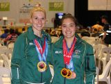 Australian weightlifting medallists Pip Malone and Kiana Elliot at the 2015 Pacific Games.