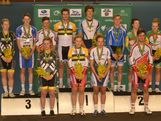 Men's, women's and U19 medallists from the 2013 Omnium National Championships at the DISC Velodrome, Melbourne on 14 December, 2012. 1st place: Glenn O'Shea (men's), Annette Edmondson (women's), Jack Edwards (MU19), Josie Talbot (WU19); 2nd place: Luke Davison (men's), Amy Cure (women's), Matthew Ross (MU19), Lauren Perry (WU19); 3rd place: Alexander Morgan (men's), Isabella King (women's), Joshua Harrison (MU19), Elissa Wundersitz (WU19).