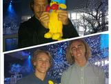 BK rubs shoulders with snowboarders Chumpy, Nate Johnstone and Cam Bolton at the Channel 10 Winter Olympic Launch party in Sydney