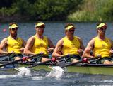 (L-R) Christopher Morgan, James McRae, Karsten Forsterling and Jared Bidwell row in the men's quadruple sculls during Day 1 of the 2012 Samsung World Rowing Cup III on Lucerne Rotsee on May 25, 2012 in Lucerne, Switzerland.