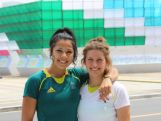 Rugby Sevens Co-Captains Tiana Penitani and Brooke Anderson at the 2014 Youth Olympic Games in Nanjing, China.
