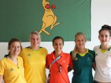 Rugby Sevens players meet Beijing Olympic gold medallist in triathlon and athlete role model, Emma Snowsill.