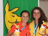 Emma Snowsill, Athlete Role Model, and Jessica Fox, Young Ambassador at the 2014 Youth Olympic Games.