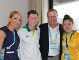 Orieta Pires, Aydan McMahon, John Coates and Kiana Elliot inside the Australian section of the Youth Olympic Village.