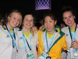 Swimmers Amy Forrester, Ella Bond, Ami Matsuo and Brianna Throssell attend the Let's Get Together welcome ceremony in the Youth Olympic Village on August 15th.