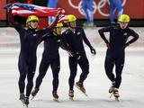 (L-R) Alex Izykowski, Apolo Anton Ohno, Rusty