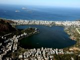 Aerial view of Lagoa Rodrigo de Freitas with nearly one year to go to the Rio 2016 Olympic Games on July 21, 2015 in Rio de Janeiro, Brazil. Lagoa will host the rowing and canoe sprint competitions in the Rio 2016 Games
