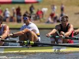 Nicholas Purnell, Brodie Buckland, Will Lockwood and Josh Booth of the Australian Men's Sweep Squad finishing strongly in a local Canberra regatta in November 2011