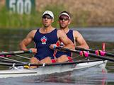 Scott Brennan and David Crawshay competing for selection in the Australian Men's Double Scull at the Sydney International Regatta Centre in 2011