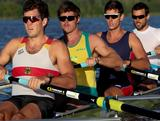 Nicholas Purnell, Sam Loch, Fergus Pragnell and Matt Ryan members of the Australian Men's Sweep Squad training on Lake Burley Griffin, Canberra