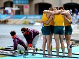 Joshua Dunkley-Smith, Drew Ginn, James Chapman and William Lockwood of Australia celebrate after winning silver in the Men's Four Final on Day 8.