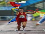 Andrey Moiseev of Russia celebrates as he crosses the line in the Men's Modern Pentathlon Running 3000m held at the OSC Stadium during Day 13 of the Beijing 2008 Olympic Games on August 21, 2008 in Beijing, China.
