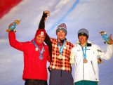 Gold medallist Reece Howden CAN (Center), silver medallist Xander Vercammen BEL (Left) and bronze medallist Louis Muhlen AUS pose on the podium after the Men's Ski Cross at the Hafjell Freepark