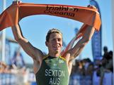 Brendon Sexton ran away from the field to win the Oceania Triathlon Championship leaving New Zealand's Beijing Olympian Kris Gemmell second and emerging young Australian Aaron Royle in third.