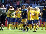 Sweden celebrates winning 3-1 the FIFA Women's World Cup 2011 Quarter Final match between Sweden and Australia and Sally Shipard of Australia (C) looks dejected at the FIFA Women's World Cup Stadium Augsburg on July 10, 2011 in Augsburg, Germany.