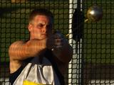 Simon Wardhaugh of Qld competes in the Mens Hammer Throw Open during the Australian Athletics Tour final held at the West Australian Athletics Centre in Perth, Australia. Simon came in 2nd place with a distance of 65.26m.