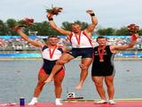 (L-R) Silver medalist Ondrej Synek of Czech Republic, Gold medalist Olaf Tufte of Norway and Bronze medalist Mahe Drysdale of New Zealand pose after the Men's Single Sculls Final at the Shunyi Olympic Rowing-Canoeing Park on Day 8 of the Beijing 2008 Olympic Games on August 16, 2008 in Beijing, China.