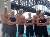 Australian swimmer James Magnussen, Leisel Jones, Eamon Sullivan, Libby Trickett, Geoff Huegill and Yolane Kukla show off the new Speedo Fastskin3 Racing System at the Australian Launch at North Sydney Pool, Sydney.